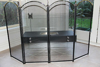 FIREPLACE SCREEN FIRESCREEN huge 4-Panels Black and Brass Finished 80 x 134 cm