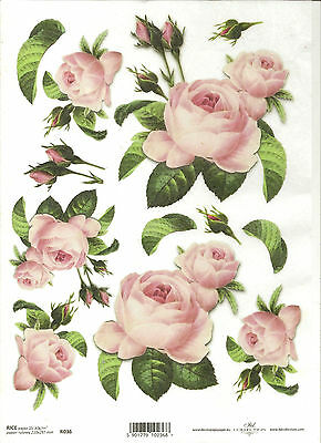 Rice Paper for Decoupage Scrapbooking Beautiful Pink Roses ITD R651