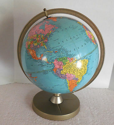"REPLOGLE 12"" REFERENCE GLOBE ON METAL STAND ABOUT 1960~Brueckmann Cartographer"