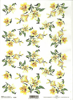 Rice Paper for Decoupage Scrapbooking Painted White Flowers A4 ITD R387