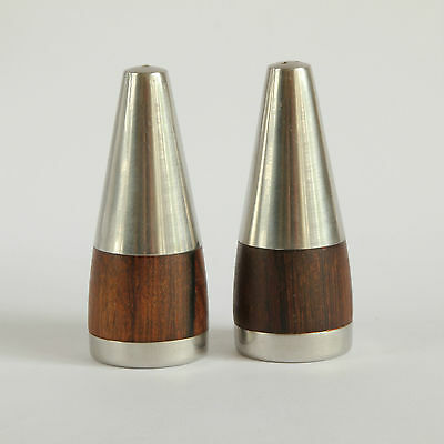 Retro Modern Wood and Stainless Steel Salt and Pepper Pots by Stelton Denmark
