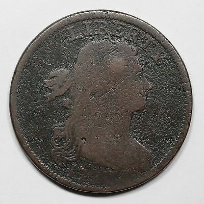 1797 S-133 R-5 Rare Stemless Draped Bust Large Cent Coin 1c