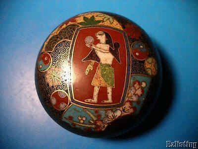 20th Century Egyptian Revival Japanese Cloisonne Round Box Signed Hard To Find