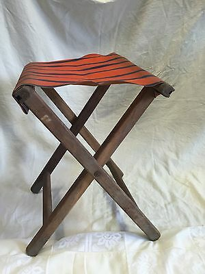 VTG Primitive Rustic Wooden Folding Striped Canvas Hunting Fishing Stool Chair