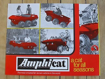 1972 Amphicat Dealer Sales Brochure All Terrain Vehicle 2 Page Nice Condition