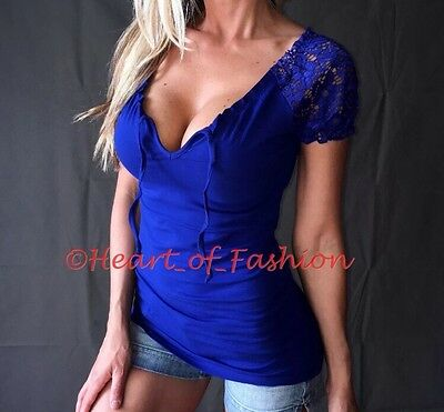 1803f0c2d8 SEXY Low Cut Cleavage Boho Peasant Stretch Crochet Lace Sleeve Top Ink Blue