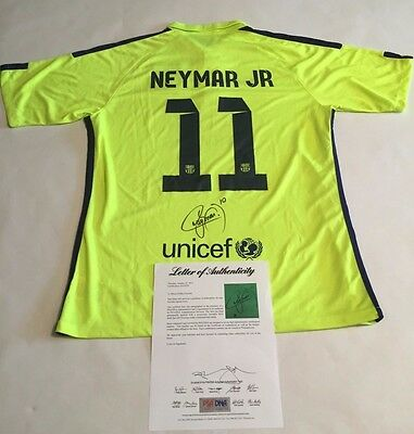 Neymar Autographed #11 Barcelona On Field Lime Soccer Jersey PSA/DNA LOA