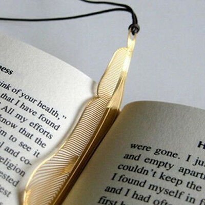 Lovely 1pc Gold Plated Metal Hollow Animal Feather Bookmark Book Paper Reading