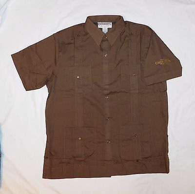 BRAND NEW TEQUILA CAZADORES Guayabera Button Down SHIRT Extra Large (XL) Brown