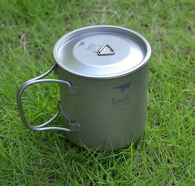 Ultralight Titanium Cup with Cover  Camping Tableware Picnic Cup 500ml