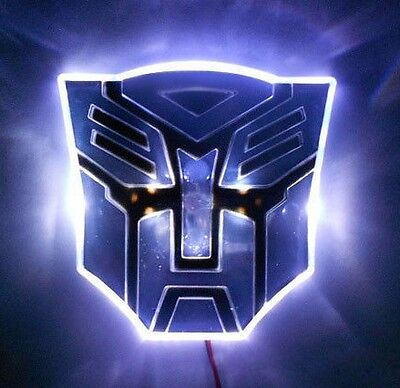 "4"" White LED TRANSFORMERS Autobot 3D Logo Emblem Badge Car Light"