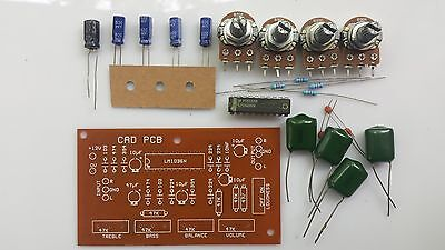 DIY Audio Preamplifier PCB with components LM1036 / Audio Preamplier