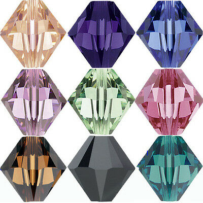 50/100Pcs Multi Colors Faceted Glass Crystal Loose Bicone Spacer Charms Bead 6mm
