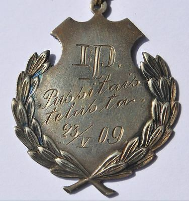 1909 Imperial Russia Finland Hallmarked Silver BAG SACK BATTLE Medal Badge Award