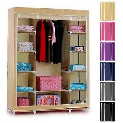 Double TRIPLE MULTIPLE CANVAS WARDROBE HANGING RAIL HOME FURNITURE STORAGE UK