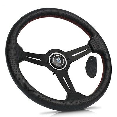 "New NARDI Torino 14"" Black Spoke Leather Perforated Dished Steering Wheel w Horn"