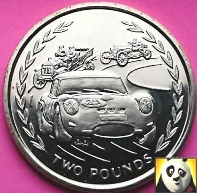 1996 Scarce ISLE OF MAN £2 Two Pound Racing Cars Unc Uncirculated Rare Coin