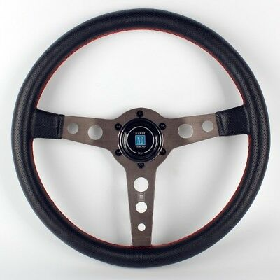 "NARDI Torino 14"" Black Leather Round Pattern Spoke Dished Steering Wheel w Horn"
