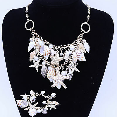 Summer Ocean Starfish Conch Shell Pearl Chain Beach Necklace Bracelet Jewelry
