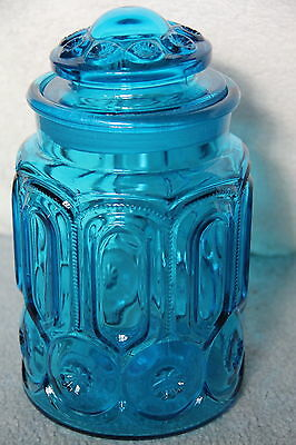 "L E Smith Colonial Blue MOON & STARS 9 1/2"" Canister Sugar Jar W/Lid"