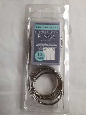New Contemporary Pack of 12 Shower Curtain Hooks Rings Silver/Chrome