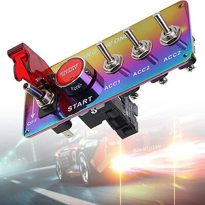Starter Button Toggle Switch Car Ignition Engine Racing Colorful Chrome Panel