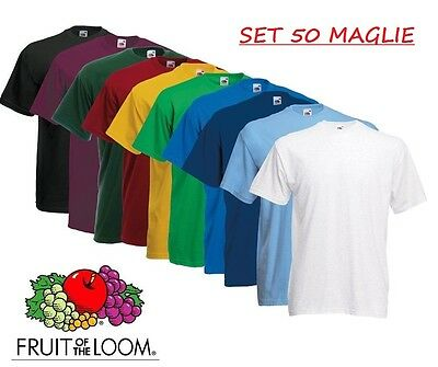 SET 50 Pezzi T-Shirt Fruit Of The Loom 100 % COTONE MAGLIE Colori Stock Lavoro