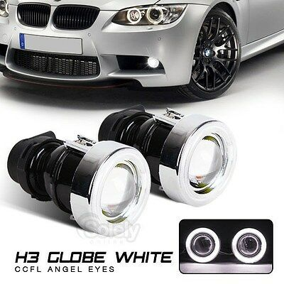 "(Pair) 2"" CCFL Projector Lights Fog Lamps 12V 55W White Halo Angel Eyes H3 Bulb"