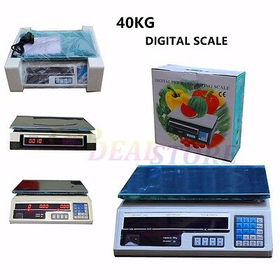 W Kitchen Scale Digital Commercial Shop Electronic Weight Scales Food 40KG White