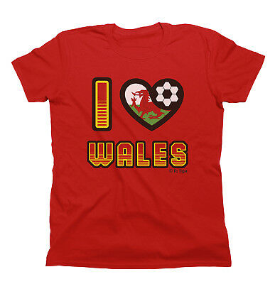 I LOVE WALES Football T-Shirt New *Choice Of MENS LADIES KIDS*