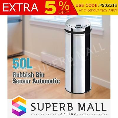 50L Stainless Steel Rubbish Bin Motion Sensor Touchless Kitchen Automatic Trash