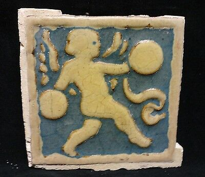 VERY RARE * Grueby Pottery * CHERUB w/ CYMBALS  * in PRIZED BLUE (SAVE U FRAME)