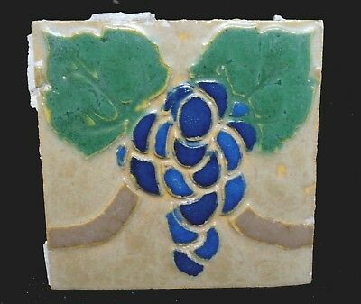 VERY RARE * Grueby Tile * (4 COLOR) w/BLUE GRAPES * 6x6 * (MAKERS MARK)
