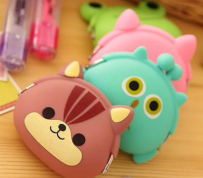 Cute Ladies Kids Animal Face Squidgy Silicone Candy Coloured Coin Jelly Purses