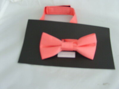 < NEW > Coral-Salmon Polyester BOYS Ready Pre-tied Bow tie > P&P 2UK > 1st Class