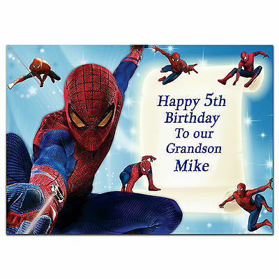 c211; Large Personalised Birthday card; Custom made for any name; Spiderman Blue