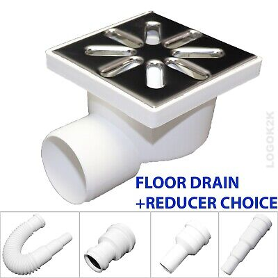 FLOOR DRAIN Bathroom Wet Room Shower With TRAP 100 x 100mm /Ø 50 + REDUCER 40 32