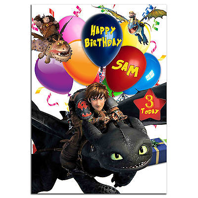 b218; Large Personalised Birthday card; for any name; How to Train Your Dragon