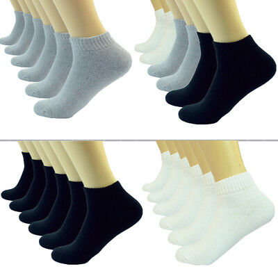 Black Gray White Ankle/Quarter Crew Mens Socks Cotton Low Cut Size 9-11 10-13