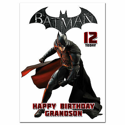 c161; Large Personalised Birthday card; Custom made for any name; BATMAN