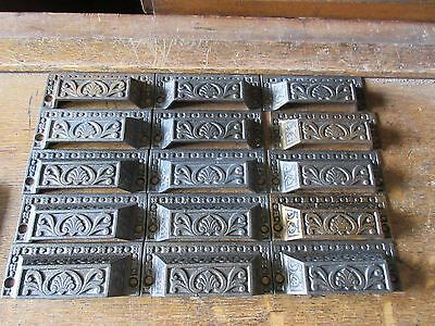 c1880 LOT of 15 matching authentic VICTORIAN cabinet pull hardware 3.25 on holes