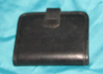 Coach Black Leather Bifold Wallet 3 Pocket Snap Closure