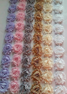Shabby chic chiffon & lace rose flower trim for tutus bridal wear prom dresses
