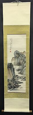 Antique Chinese Watercolor Landscape Scroll Signed With Seals