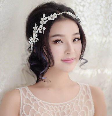 Women Crystal Pearl Wedding Bridal Headpieces Party Prom Hair Accessories Tiara