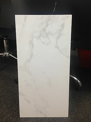 CARRARA GREY 300mm x 600mm WHITE GLOSS WALL TILES - GREAT FOR BATHROOMS