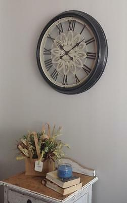 Stunning wall clock large 68cm metal glass Roman numerals wall art