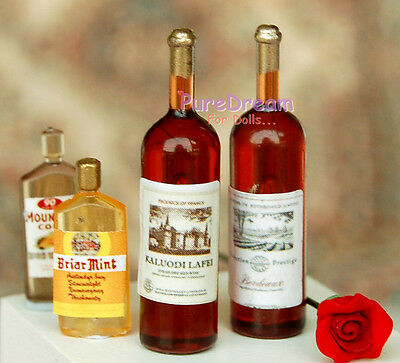 4 Bottle Red Wine Dollhouse Miniatures Dining Drinks FE0142*2