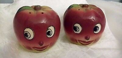 Vintage Anthropomorphic 1950's Happy Smiling Apple Salt & Pepper Shakers Japan