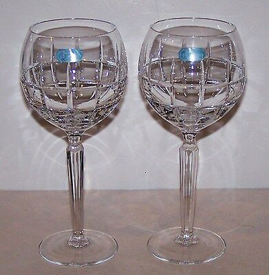 Lovely JG DURAND Crystal CRISTAL D'ARQUES Pair of GLENELLEN Balloon Wine Goblets